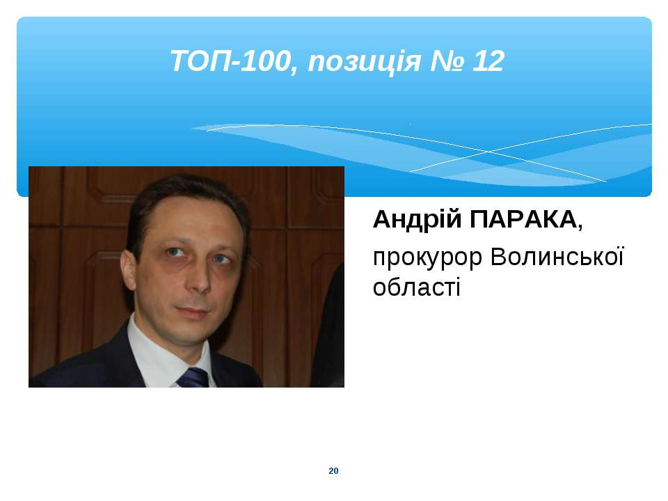 * ТОП-100, позиція № 12 Андрій ПАРАКА, прокурор Волинської області