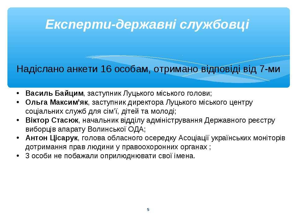 * Експерти-державні службовці Надіслано анкети 16 особам, отримано відповіді ...