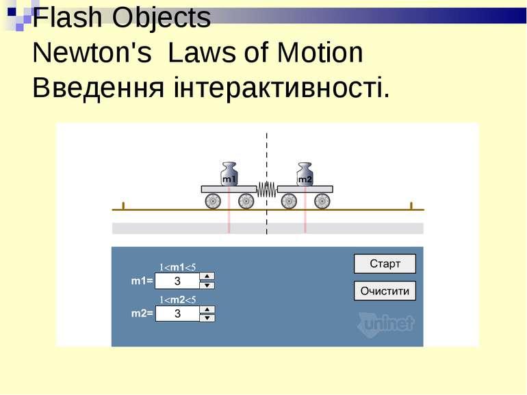 Flash Objects Newton's Laws of Motion Введення інтерактивності.