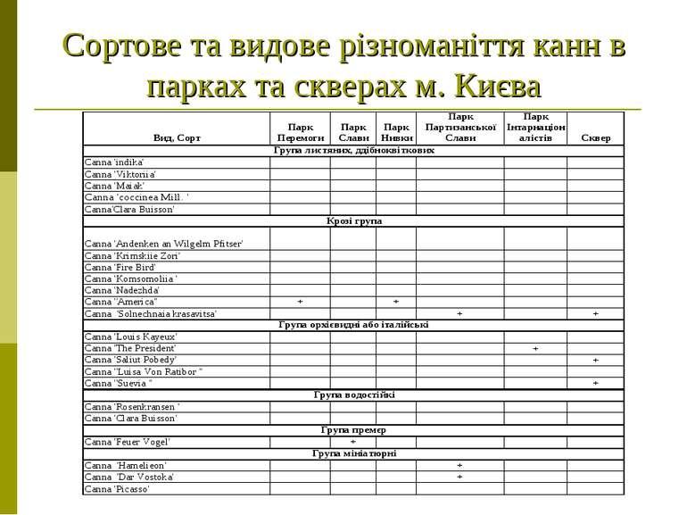 Сортове та видове різноманіття канн в парках та скверах м. Києва