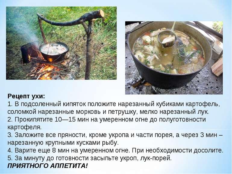 Рецепт ухи: 1. В подсоленный кипяток положите нарезанный кубиками картофель, ...