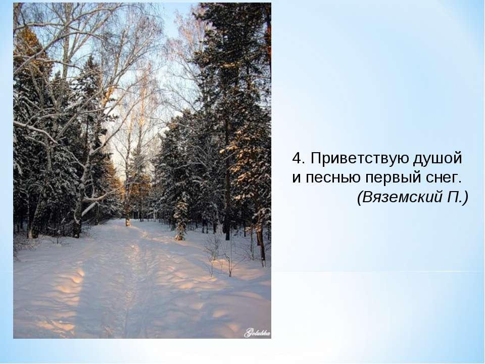 4. Приветствую душой и песнью первый снег. (Вяземский П.)