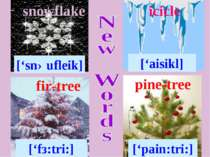 snowflake ['snəufleik] fir-tree ['fз:tri:] icicle ['aisikl] pine-tree ['pain:...