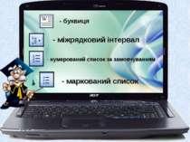 - міжрядковий інтервал нумерований список за замовчуванням - маркований списо...