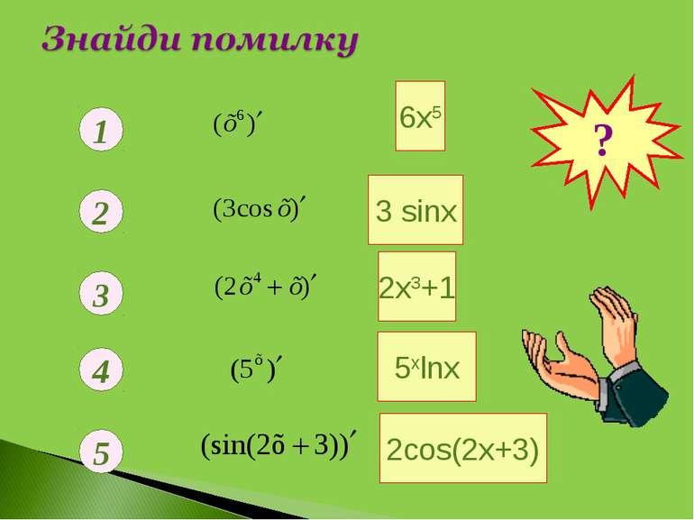 1 2 3 4 5 3 sinx 5хlnх 2cos(2х+3) ? 6х5 2х3+1 -3 sinx 8х3+1 5хln5 6 9 0 0 0