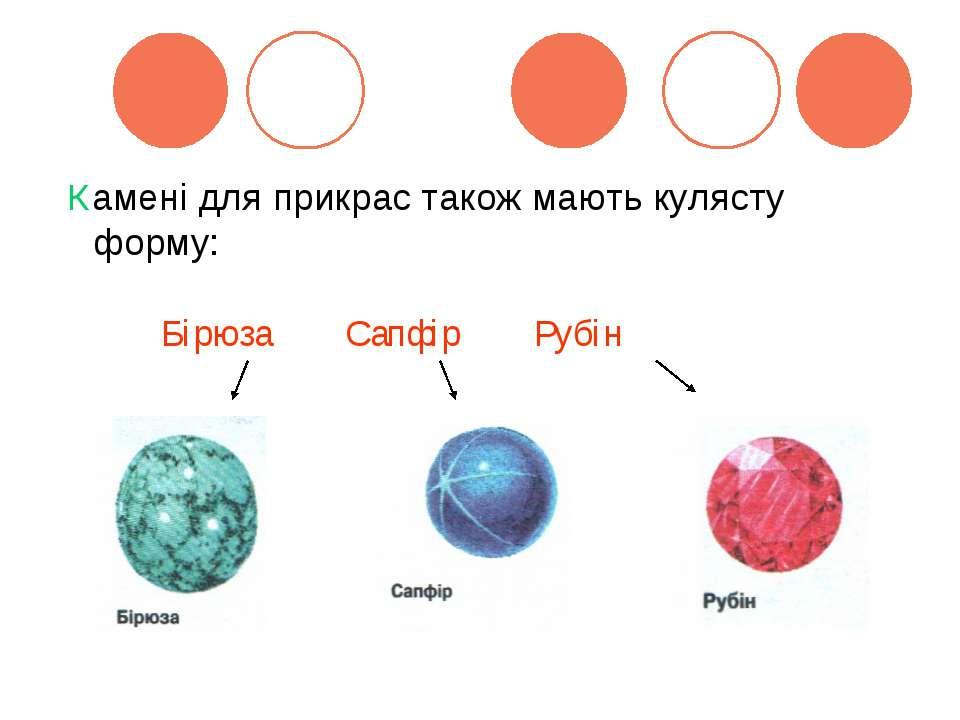 Камені для прикрас також мають кулясту форму: Бірюза Сапфір Рубін