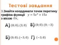 3.Знайти координати точок перетину графіка функції з віссю .