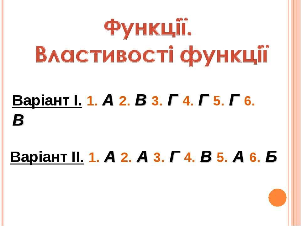 Варіант І. 1. А 2. В 3. Г 4. Г 5. Г 6. В Варіант ІІ. 1. А 2. А 3. Г 4. В 5. А...