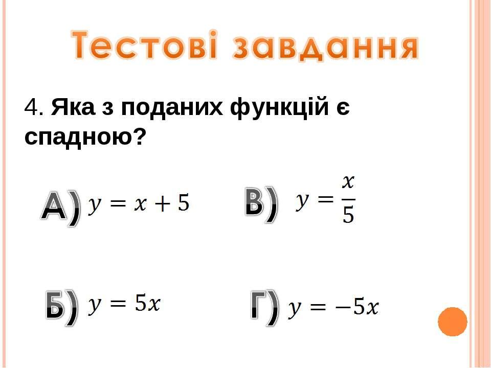 4. Яка з поданих функцій є спадною?