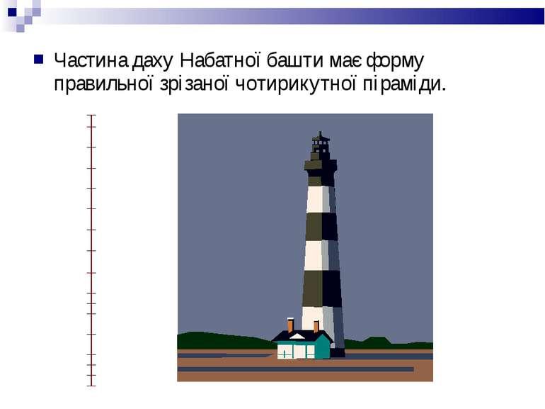 Частина даху Набатної башти має форму правильної зрізаної чотирикутної піраміди.