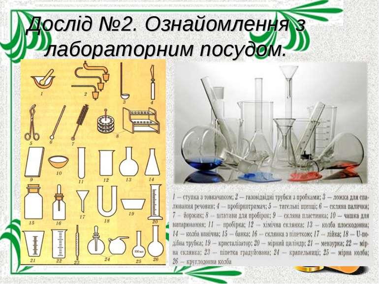 Дослід №2. Ознайомлення з лабораторним посудом.