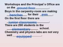 Workshops and the Principal`s Office are on the _____________________. Boys i...