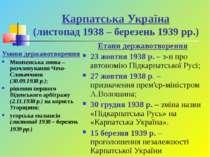 Карпатська Україна (листопад 1938 – березень 1939 рр.) Умови державотворення ...