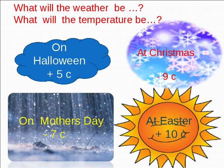 On Halloween + 5 c At Christmas - 9 c At Easter + 10 c On Mothers Day - 7 c W...