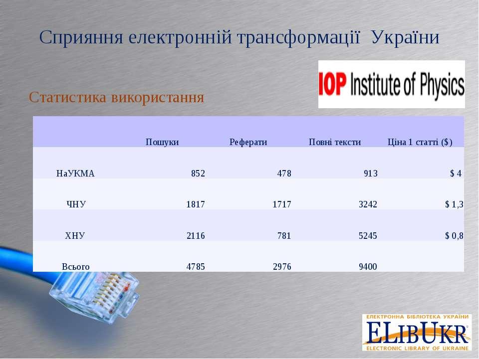 Сприяння електронній трансформації України Статистика використання  Пошуки Р...