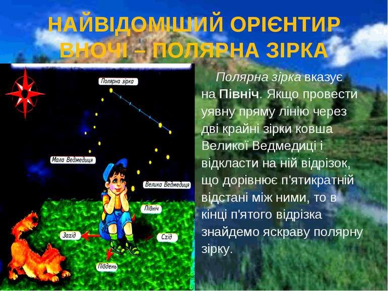 НАЙВІДОМІШИЙ ОРІЄНТИР ВНОЧІ – ПОЛЯРНА ЗІРКА Полярна зірка вказує на Північ. Я...