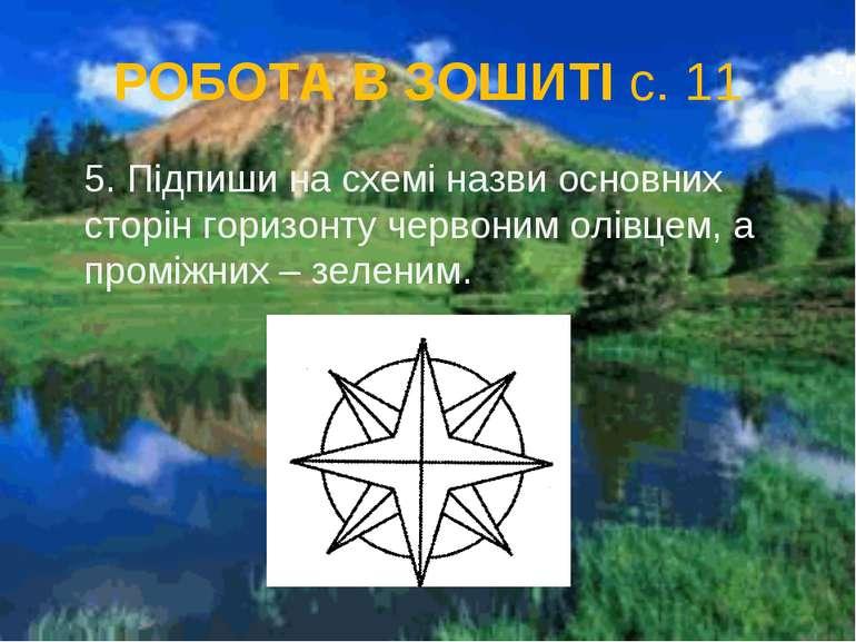 РОБОТА В ЗОШИТІ с. 11 5. Підпиши на схемі назви основних сторін горизонту чер...