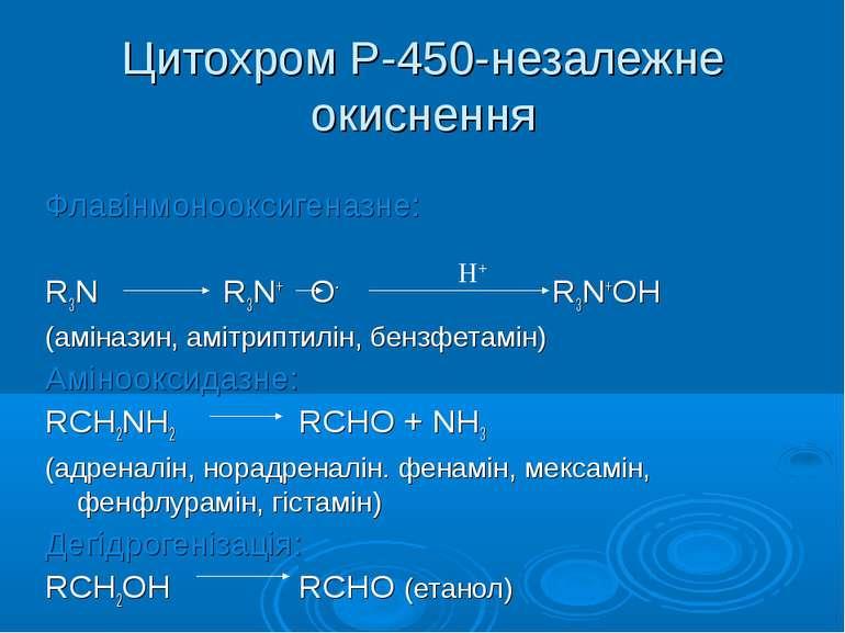 Цитохром Р-450-незалежне окиснення Флавінмонооксигеназне: R3N R3N+ O- R3N+OH ...