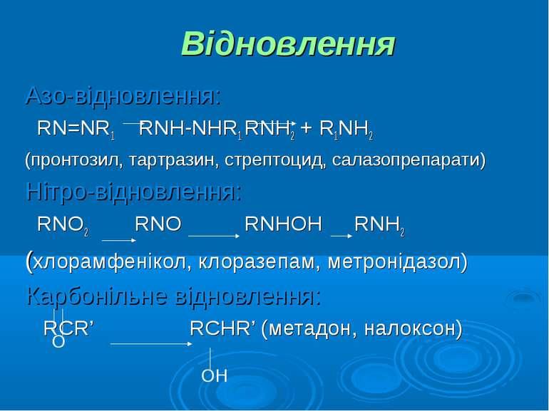 Відновлення Азо-відновлення: RN=NR1 RNH-NHR1 RNH2 + R1NH2 (пронтозил, тартраз...