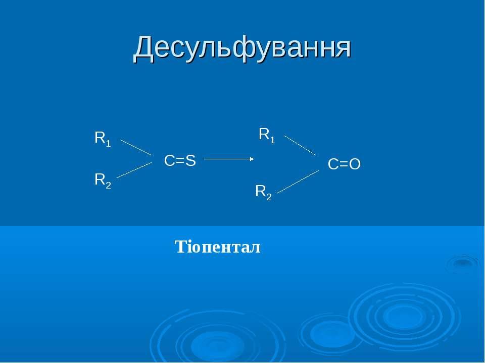 Десульфування R1 R2 S R1 R2 С=O Тіопентал С=