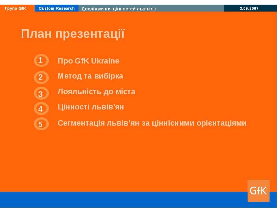 3 Лояльність до міста 4 Цінності львів'ян 1 Про GfK Ukraine План презентації ...