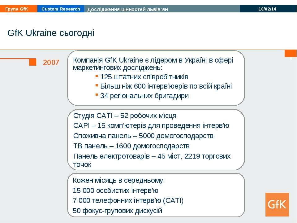 * GfK Ukraine сьогодні Компанія GfK Ukraine є лідером в Україні в сфері марке...