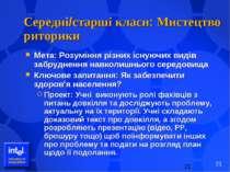 Середні/старші класи: Мистецтво риторики Мета: Розуміння різних існуючих виді...