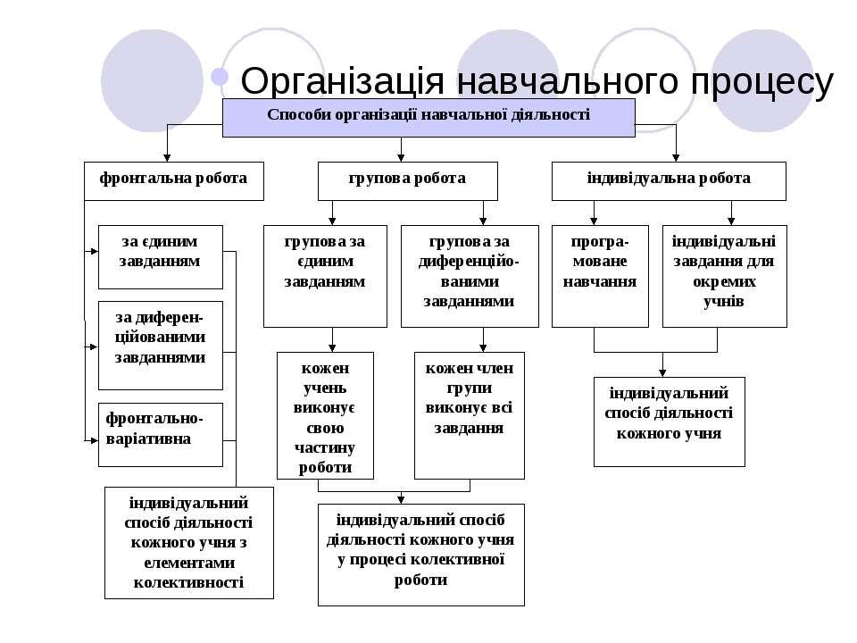 Організація навчального процесу індивідуальний спосіб діяльності кожного учня...