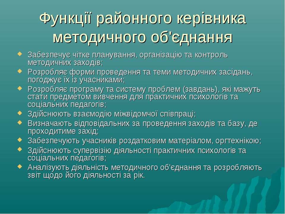 Функції районного керівника методичного об'єднання Забезпечує чітке плануванн...