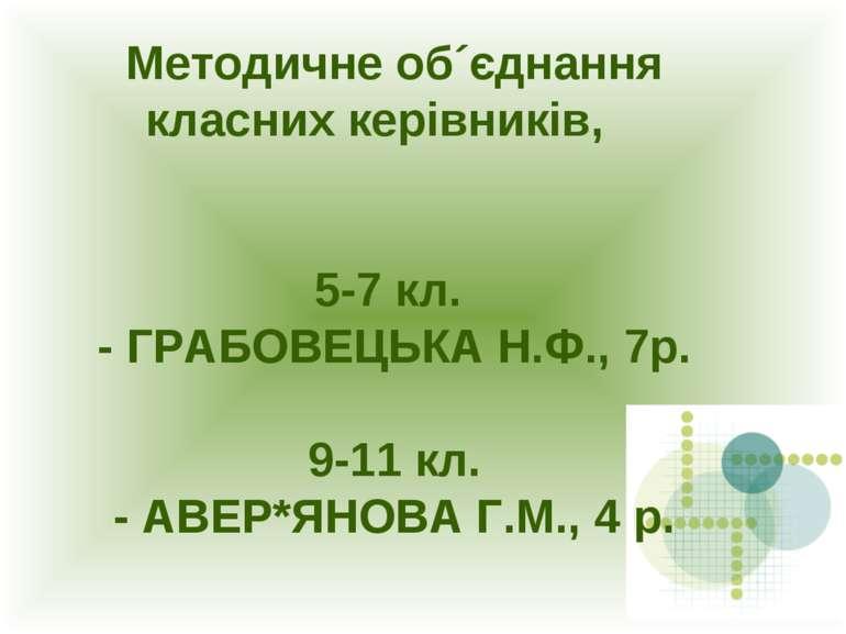 Методичне об´єднання класних керівників, 5-7 кл. - ГРАБОВЕЦЬКА Н.Ф., 7р. 9-11...