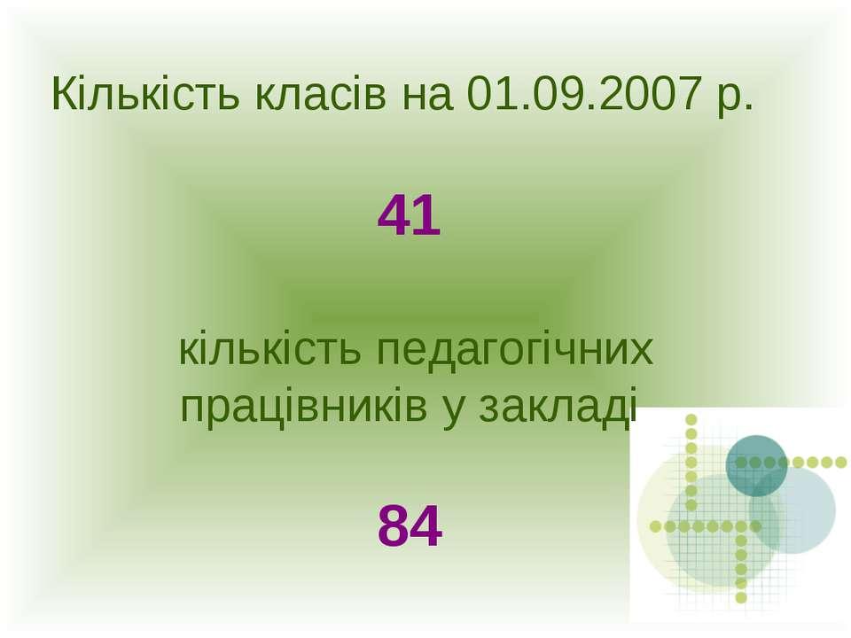 Кількість класів на 01.09.2007 р. 41 кількість педагогічних працівників у зак...