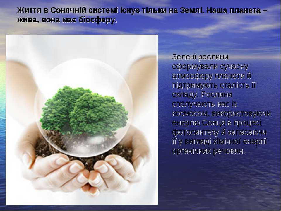 Зелені рослини сформували сучасну атмосферу планети й підтримують сталість її...