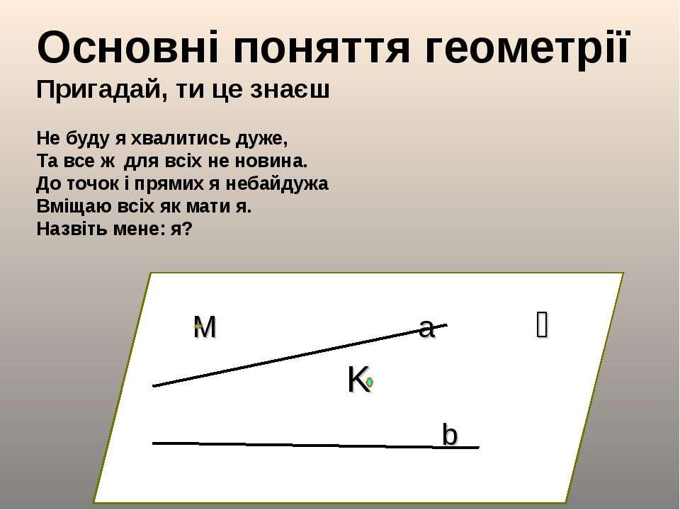 Основні поняття геометрії Пригадай, ти це знаєш Не буду я хвалитись дуже, Та ...