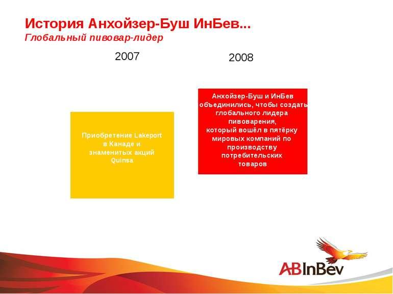 История Анхойзер-Буш ИнБев... Глобальный пивовар-лидер 2007 2008 Приобретение...