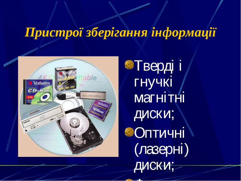 Пристрої зберігання інформації Тверді і гнучкі магнітні диски; Оптичні (лазер...