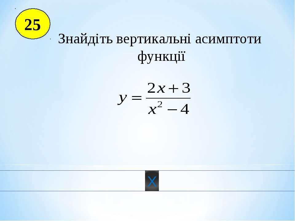 25 Знайдіть вертикальні асимптоти функції