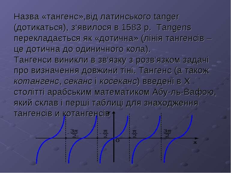 Назва «тангенс»,від латинського tanger (дотикаться), з'явилося в 1583 р. Tan...