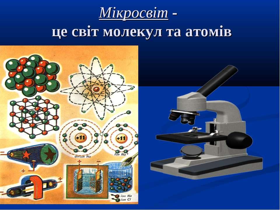 Мікросвіт - це світ молекул та атомів