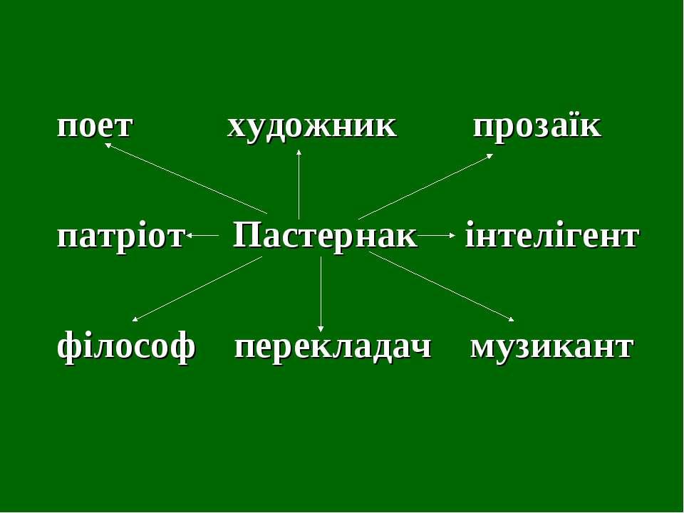 поет художник прозаїк патріот Пастернак інтелігент філософ перекладач музикант