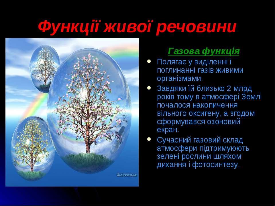 Функції живої речовини Газова функція Полягає у виділенні і поглинанні газів ...