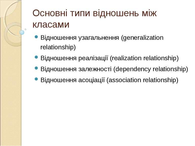 Основні типи відношень між класами Відношення узагальнення (generalization re...