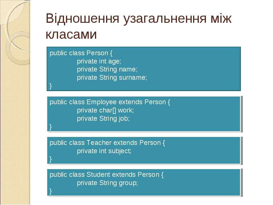 Відношення узагальнення між класами public class Person { private int age; pr...