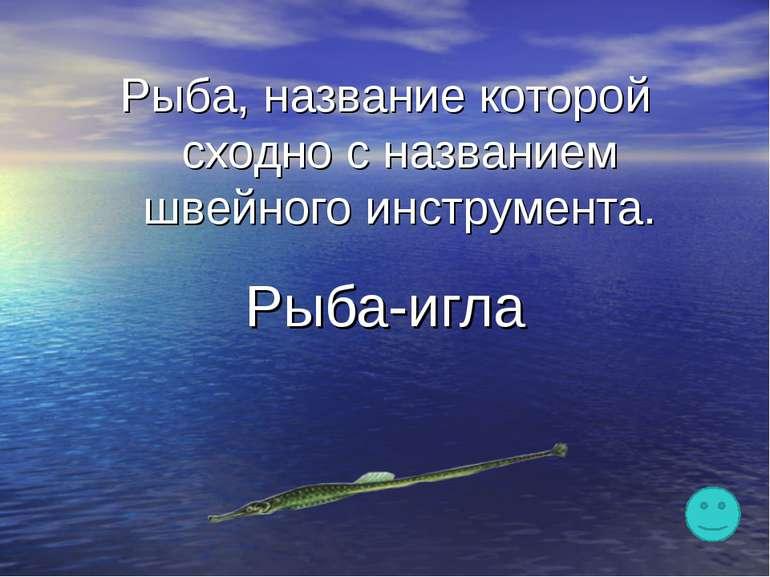 Рыба, название которой сходно с названием швейного инструмента. Рыба-игла