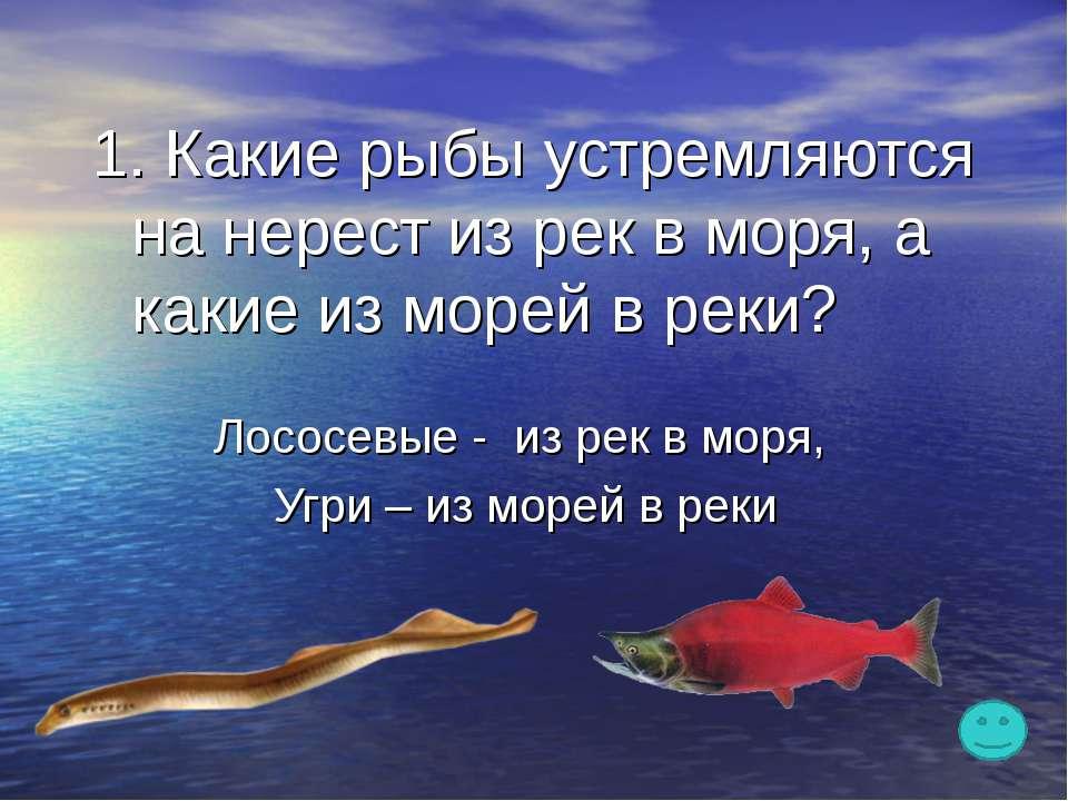 1. Какие рыбы устремляются на нерест из рек в моря, а какие из морей в реки? ...