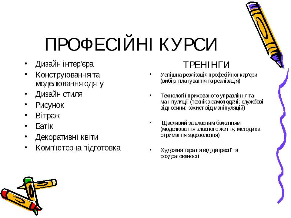 ПРОФЕСІЙНІ КУРСИ Дизайн інтер'єра Конструювання та моделювання одягу Дизайн с...