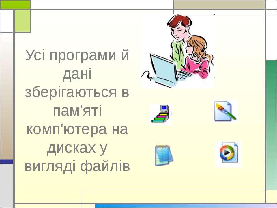 Усі програми й дані зберігаються в пам'яті комп'ютера на дисках у вигляді файлів