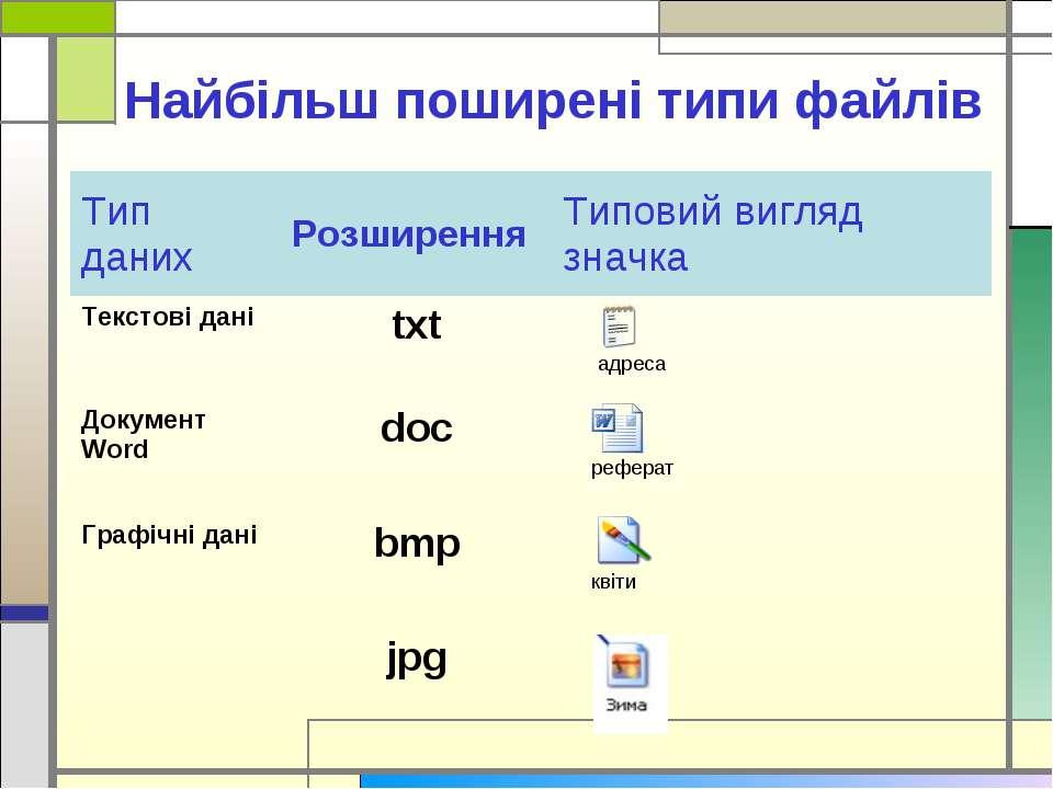Найбільш поширені типи файлів