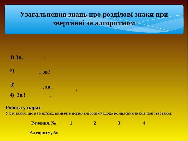 Узагальнення знань про розділові знаки при звертанні за алгоритмом 1) Зв., . ...