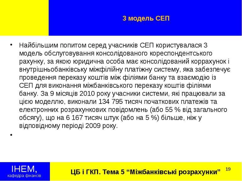 """ЦБ і ГКП. Тема 5 """"Міжбанківські розрахунки"""" 3 модель СЕП ІНЕМ, кафедра фінанс..."""