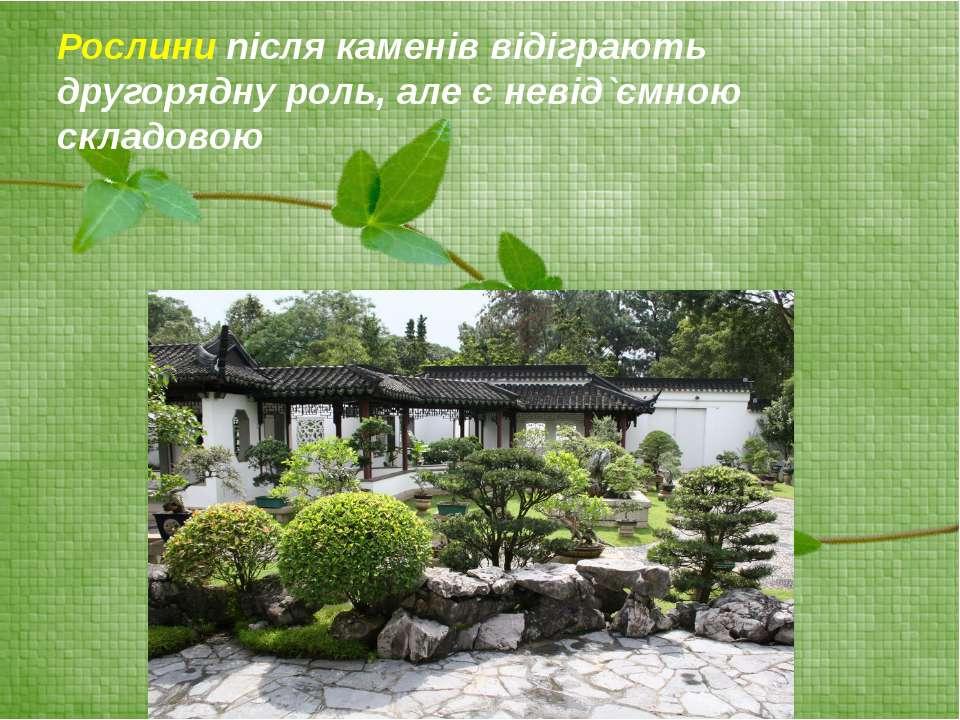 Рослини після каменів відіграють другорядну роль, але є невід`ємною складовою
